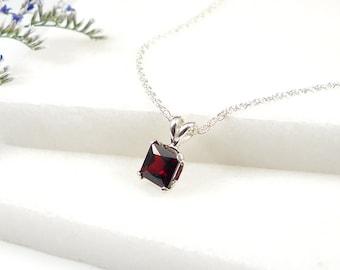 Natural Garnet Pendant Necklace / Red Garnet Gemstone Necklace / Sterling Silver Necklace / Super Red Garnet /NG07