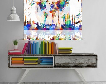 world map wall art world map canvas world map poster world map tapestry world map print world map art  abstract painting watercolor print