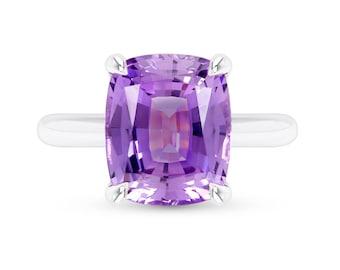 Purple Sapphire Ring - Antique Cushion Cut Purple Sapphire Solitaire - Large Cushion Cut Purple Sapphire Ring - Purple Gemstone Ring