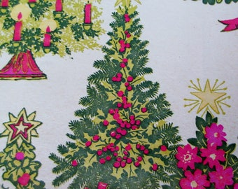 Vintage 1950s MID CENTURY Christmas Gift Wrap Paper Pink and Green Modern Tree theme