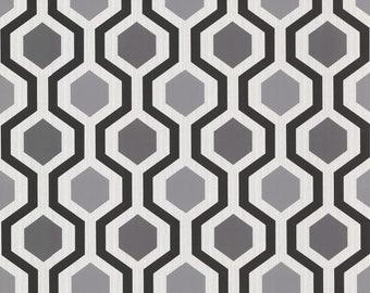 347-20133 Marina Contemporary Geometric Black and White Trellis Wallpaper - Yard