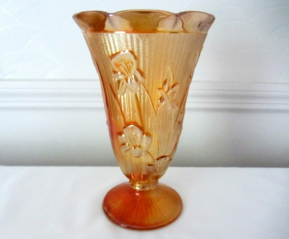 Jeannette Marigold Iris And Herringbone Carnival Glass Vase