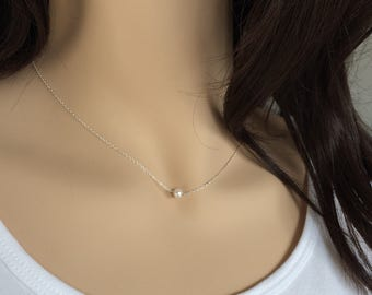 Freshwater Pearl Necklace, Dainty Pearl Necklace, Gold Necklace,Everyday Jewelry, Bridal Jewelry, Bridesmaid Necklace, UK Seller