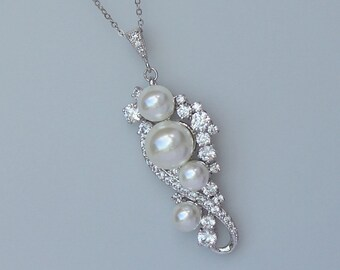 Pearl Necklace, Bridal Necklace, Pearl and Crystal Wedding Jewelry, TILLY