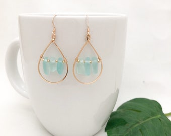 Blue Sea Glass Teardrop Earrings, 14kt Gold Fill