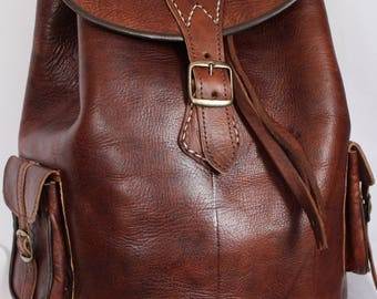083 Large Vintage Style Real Genuine Leather Bag Rucksack Backpack Brown