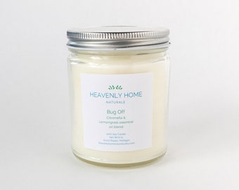 Bug Off Soy Candle  - Citronella Candle - Camping Candle - Zero Waste Gift - Summer Candle - Lemongrass Candle - Natural Bug Repellent