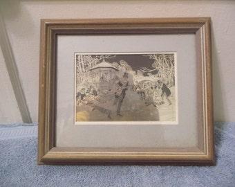 "Framed Franklin Mint Sterling Silver Etching ""The Skaters"""