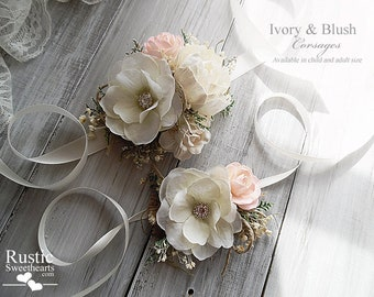 Ivory & Blush ~ Wedding Bridal Corsage. Available in child and adult size.