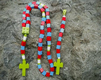 The Original MementoMoose Rosary and Chaplet Set Made with Lego Bricks - Red, Blue, Green and White - First Communion Special!