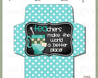 Teacher Gift Card Envelope - Digital Printable - Immediate Download