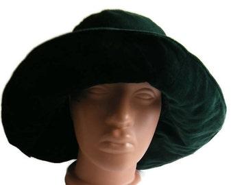 Vintage Green velvet Cloche hat bowler hat Bucket hats Slouch Hat Snap brim hat Broadbrim ladies hat