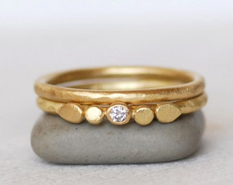 Tiny Petals Diamond Gold Ring Set - 2mm Diamond Ring - 18k OR 14k Gold Wedding Ring - Eco-Friendly Recycled Gold - White OR Brown Diamond