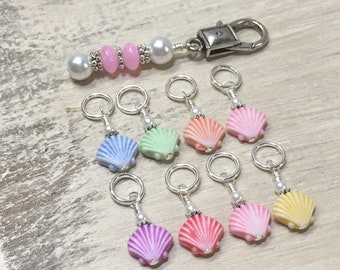 Seashell Stitch Marker Charms with Holder | Snag Free | Knitting Gift