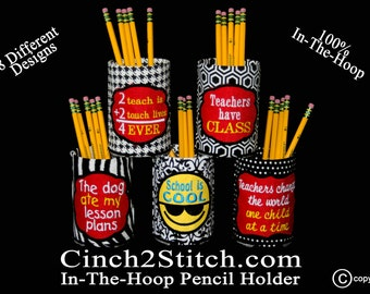 "Teacher Pen / Pencil Holder Gifts - 100% In The Hoop - Machine Embroidery Design Download (5"" x 7"" Hoop)"