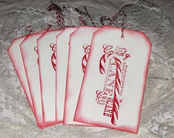 Vintage Inspired edge Candy Cane Gift Tag for Christmas Hand Stamped ECS