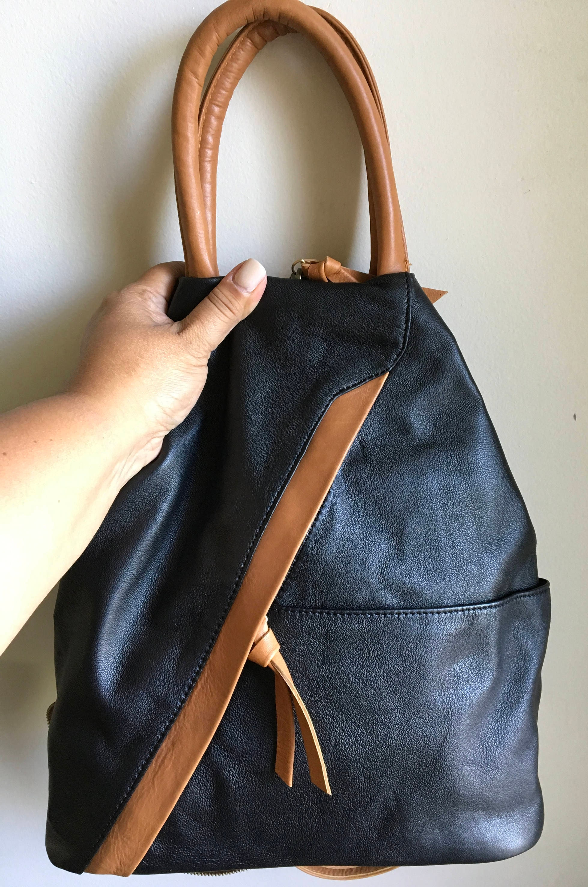 Unique Leather backpack shoulder bag, convertible bag, converting handbag  PT42