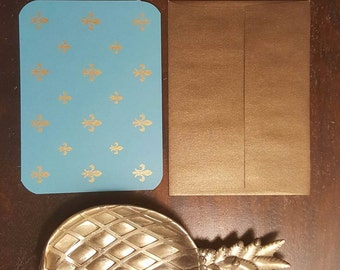 Golden Shimmer Fleur de Lis Stationery card set