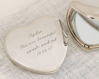 Personalised Heart Mirror ~ Engraved Birthday, Wedding, Mother's Day, Anniversary Gift