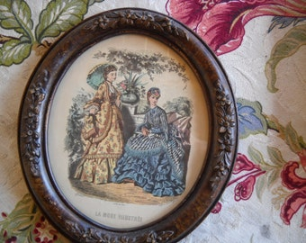 "Vintage Framed Print ""LA MODE ILLUSTREE""-Anais Toudouze  in Oval Glass Frame Womens Victorian Fashion  Paris"
