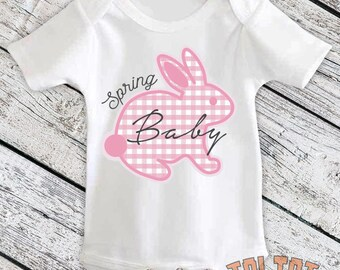Spring Bunny Bodysuit, Easter Baby, Easter Rabbit Outfit, Pink Plaid, Easter Bunny for Babies, Toddlers, One Piece