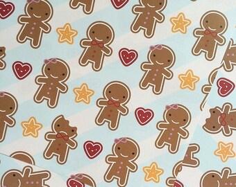 5 sheets of Gift Wrap - Cookie Cute Gingerbread Men - Kawaii Christmas