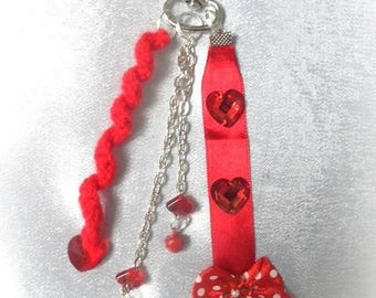 Key ring, handmade jewelry red bag