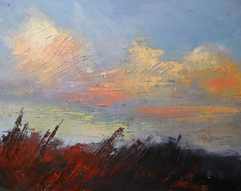 """Cloud painting, Daily painting, Small Oil Painting, """"Autumn Skies"""" by Carol Schiff, 8x10x1.5"""", Free Shipping in US"""