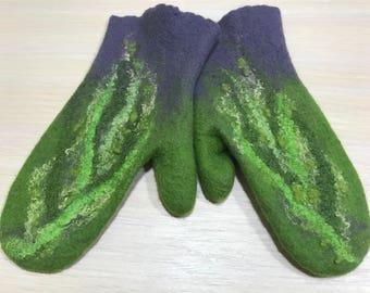 Felted Mittens, Handmade,Arm Warmers, Gloves , women, soft, wool, merino,Women's Accessories