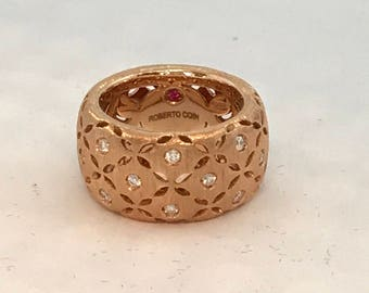 Roberto Coin Granada Ring 18k Rose Gold with 16 diamonds. Size 6, 13 grams.