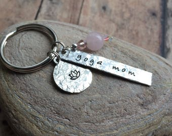 Yoga Mom Keychain | Mothers Day Gift | Mom Gift | Yoga Gift | Yoga Accessories | Yoga Instructor Gift | Lotus Keychain | Yoga Lovers Gift
