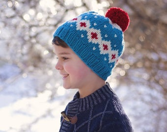 Nordic Inspired Fair Isle Knit Hat for Boy or Girl