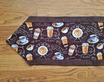 Coffee table runner, coffee decor, end table runner, cafe decor, coffee lover gift