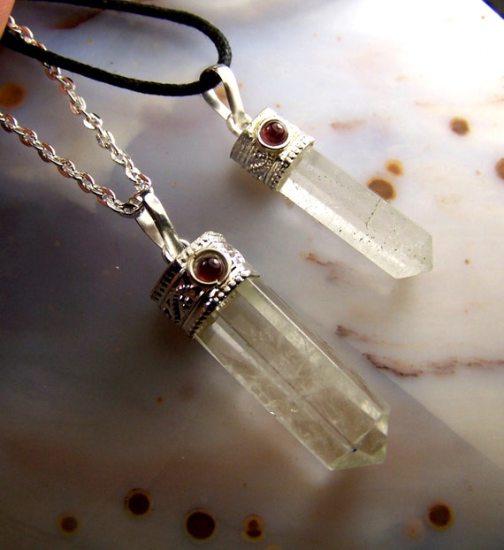 Quartz crystal necklace pendant with garnet cabochon gemstone quartz crystal necklace pendant with garnet cabochon gemstone clear quartz polished stone point silver cap bead chain or cord from coyoterainbow on etsy aloadofball Image collections