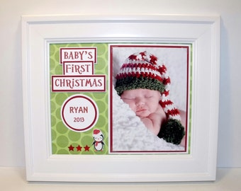 First Christmas Photo Mat - Personalized - 8x10 UNFRAMED Insert for 4x6 or 5x7 Photo - Other Sizes and Designs Available