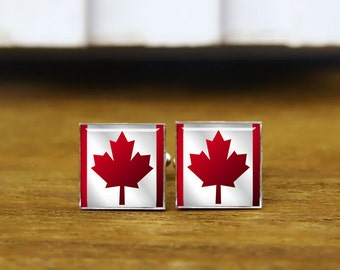 flag of canada cufflinks, Canadian, custom national flag cufflinks, patriot cufflinks, round, square cufflinks, tie clip or a matching set