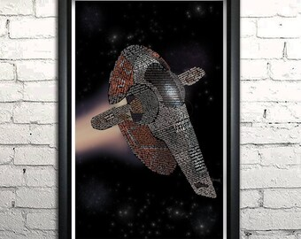 "Star Wars Slave One word art print - 11x17"" FRAMED"