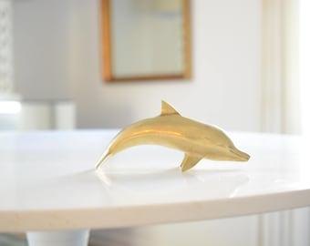 Brass dolphin figurine, large, vintage