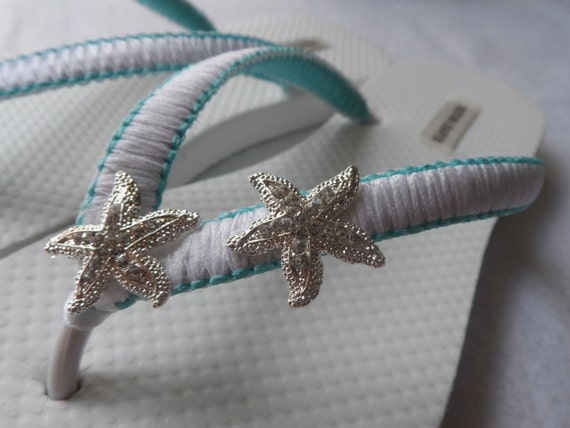 Rinestone Flip Flops Wedding Aqua StarFish Flip Flops Flip Blue Bridal Flops Macrame Sandals Bridesmaids pSwq1U