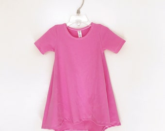 Pink short sleeve swing dress, high low dress, baby dress