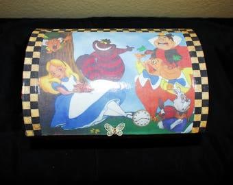 Alice in Wonderland Treasure Chest, Jewelry Box, Keepsake Box