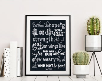But those who hope in the Lord - Isaiah 40:31 - Hand Drawn Chalkboard Bible Verse - Christian Gift - Home Decor