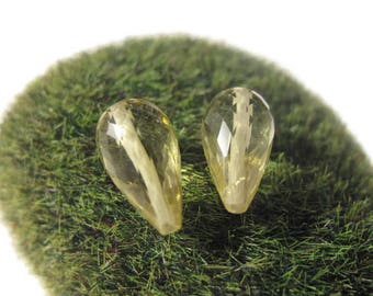Two Lemon Quartz Beads, Long Drilled Matched Pair, Faceted Briolettes, 8x5-9x6mm, AWESOME Natural Gemstones, Jewelry Supplies (Pt-Lq3b)