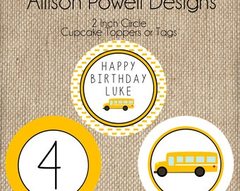 School Bus, Wheels On The Bus Birthday Party Cupcake Toppers
