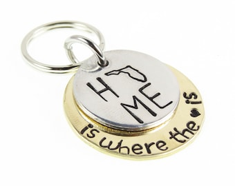 State Key Chain - Home Key Ring - State All 50 States Charm Key chain - Gifts for  Grad - Key Fob - State Key Ring - Hand Stamped Keychain