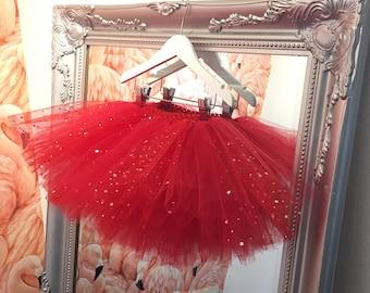 Red & Sparkle Tutu Skirt