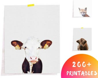 Cow Printable Print, Cow Art, Minimalist Animal Art, Cow Print, Farm Animal Prints, Farm Animal Nursery, Nursery Animal Prints, Farm Animals