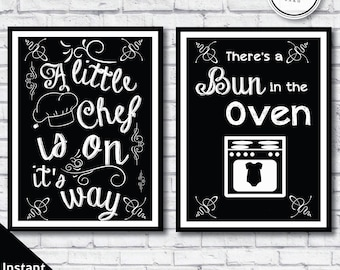 Bun in the oven baby shower - Little chef baby shower - chef baby shower signs - chalkboard chef signs -  bun in the oven signs