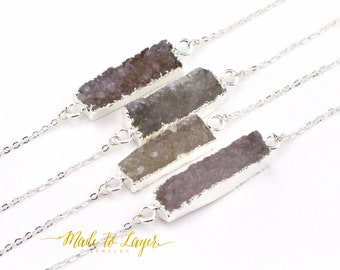 Druzy Necklace, Drusy Necklace, Geode Necklace, Crystal Necklace, Quartz Necklace, Gemstone Necklace, Stone Necklace, Bar Necklace,