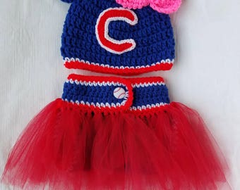 Chicago Cubs hat and diaper cover with tutu